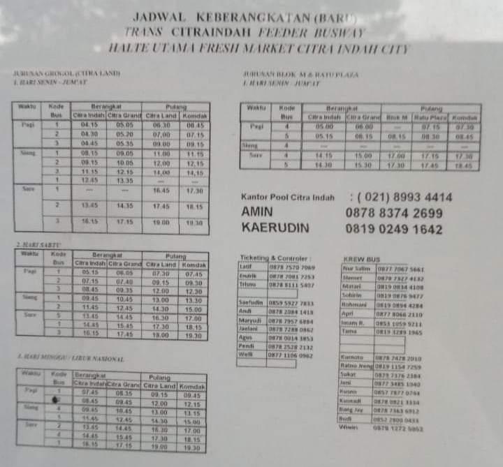 Jadwal Shuttle Bus Citra Indah updated 28 April 2019