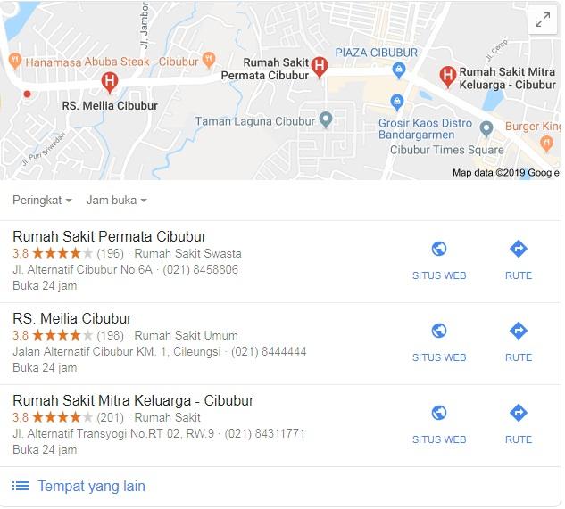 Nomor telepon Rumah sakit area Cibubur - Berita Cibubur