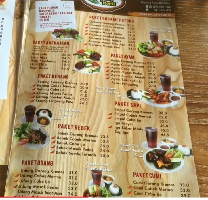 Harga makanan Kampung Kecil Cibubur